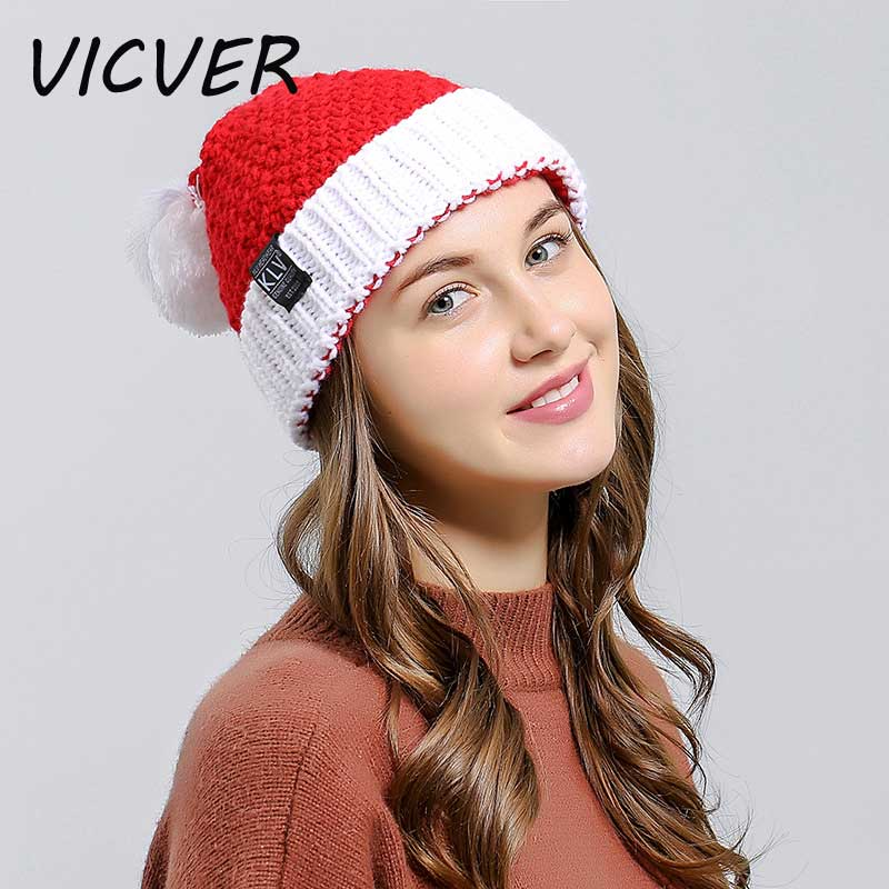 New Santa Claus Knitted Warm Hats Women   Skullies     Beanies   Wool Cap Christmas Party Soft Knit Hat with Pompom Fashion Crochet Caps