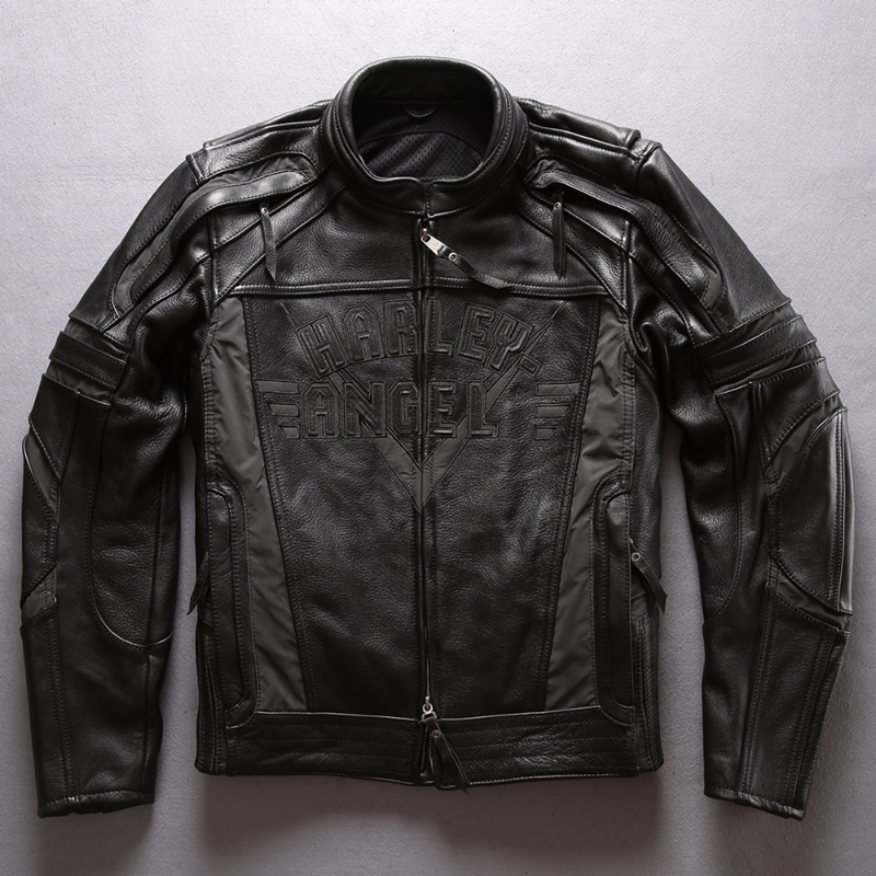 Motorcycle Jacket Protective-Device-Bag Vintage Leather Professional Coat Cowhide