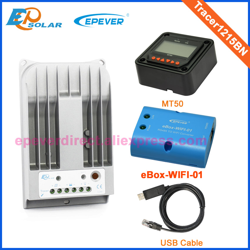 automatic 12V 24V work battery charger solar tracking panels Tracer1215BN controller wifi box USB cable MT50 Meter 10A 10amps