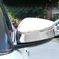 2 PCS ABS Plastic Chromed ABS Carbon Fiber Look Rear View Mirror Cover With Light For