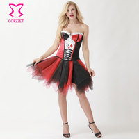 Red/Black Clown Lady Corset Skirt Fancy Dress Cosplay Anime Harley Quinn Costumes Deguisement Sexy Halloween Costume for Women