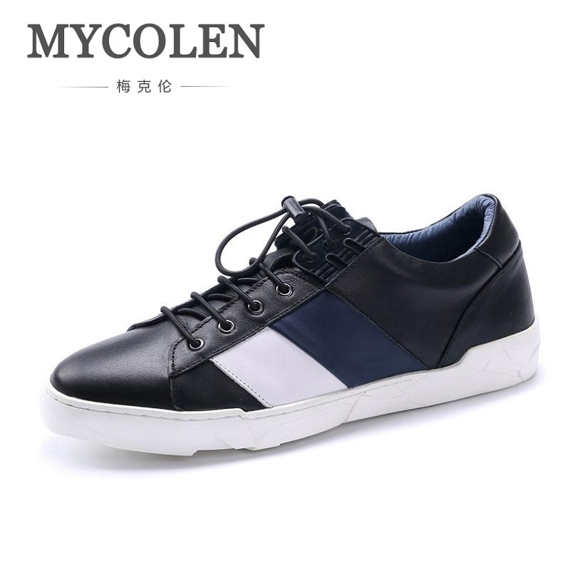 MYCOLEN New Spring And Fall Men's Casual Shoes Leather Flat Shoes Men Outdoor Lightweight Footwear Chaussures Hommes En Cuir vixleo men shoes new spring and autumn casual fashion safety oxfords breathable flat footwear pu leather waterproof shoes men