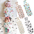 65*29cm Newborn Baby Blanket Bedding Cover Boy Girl Muslin Cotton Swaddle Warp + Headband