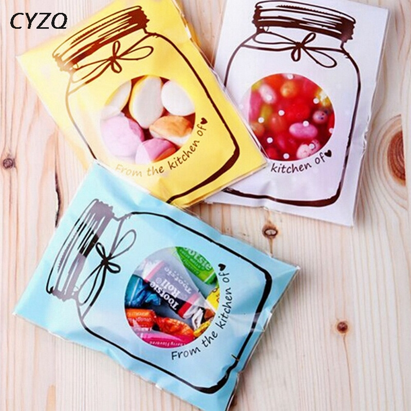 50pcs/lot Candy Cookie Plastic Bag Wedding Favors Bottle Pattern Self-adhesive Gift Bag Christmas Birthday Party Supplies