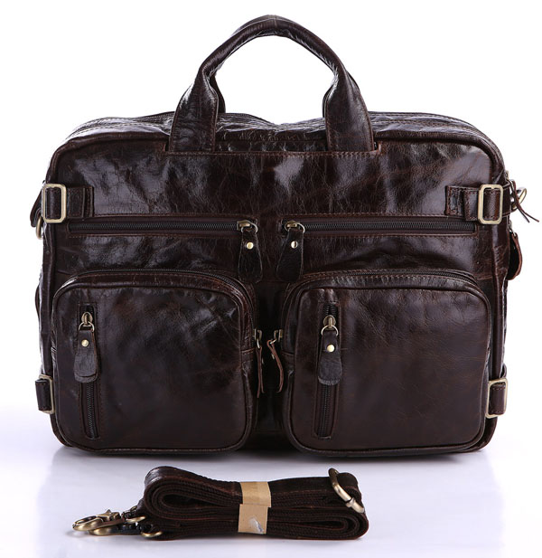 Vintage genuine leather bag men messenger bags cowhide portfolio male bag business men's briefcase 14