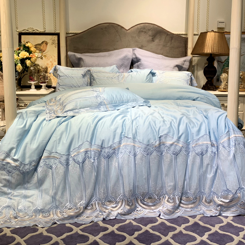 New luxury Embroidered 100S Egyptian cotton Royal Bedding sets Queen King Blue Lace Duvet Bed sheet set Pillowcases 4/6pc coffeeNew luxury Embroidered 100S Egyptian cotton Royal Bedding sets Queen King Blue Lace Duvet Bed sheet set Pillowcases 4/6pc coffee