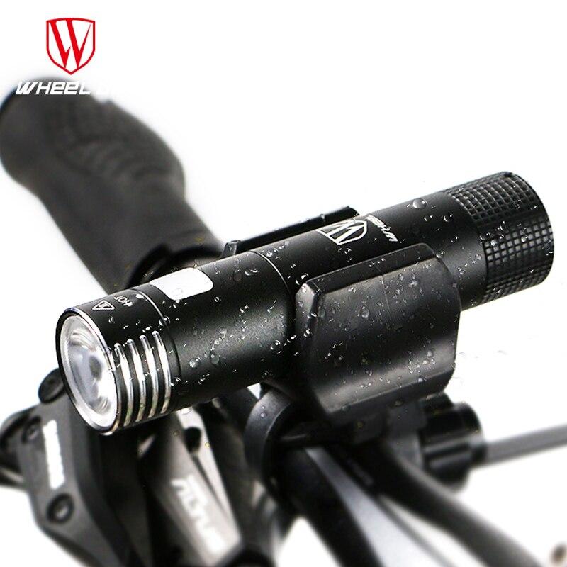 Цена за WHEEL UP mini usb аккумуляторная свет велосипеда передний руль велоспорт светодиодные фонари батареи 18650 фонарик факел велосипед аксессуары фонарь для велосипеда