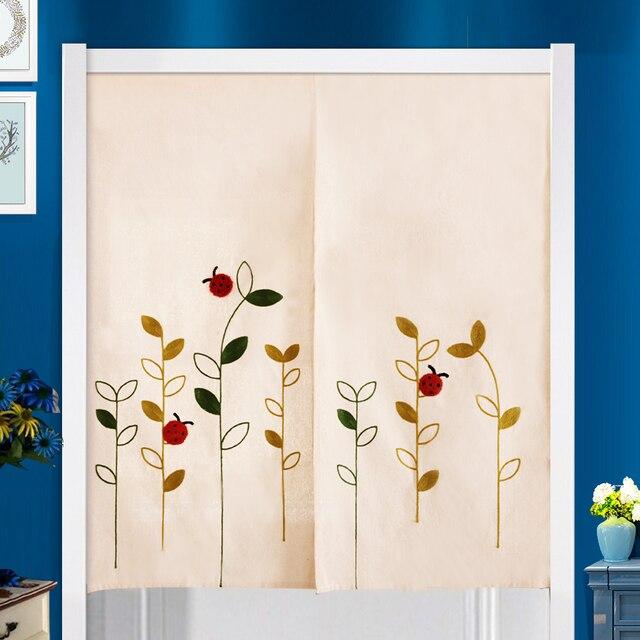 US $15.19 5% OFF|Japanischen Stil Cartoon Marienkäfer Gestickte Tür Vorhang  Natürliche Baumwolle Partition Badezimmer Schlafzimmer Küche Tür Vorhang ...