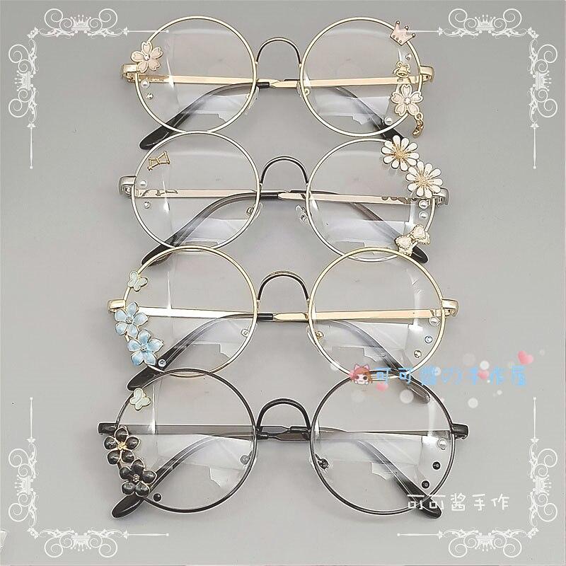Мягкие очки Lolita, плоская оправа в ретро стиле, металлические круглые японские очки в стиле Харадзюку с цветком вишни для девочек, диффузные декоративные очки Аксессуары для костюмов для мальчиков      АлиЭкспресс