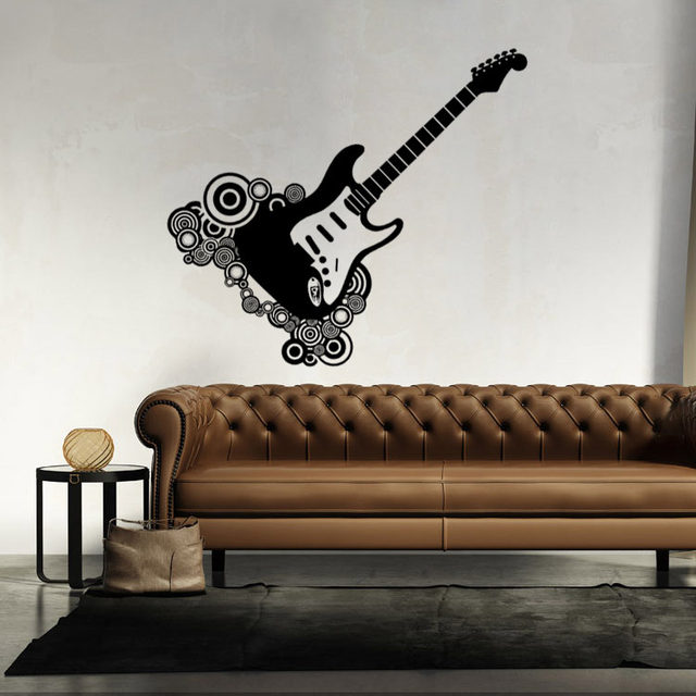Creative Unique Guitar Wall Decal Sticker Home Decor Wall Art Mural Poster  Guitar Lover Music Room Wall Applique Paper