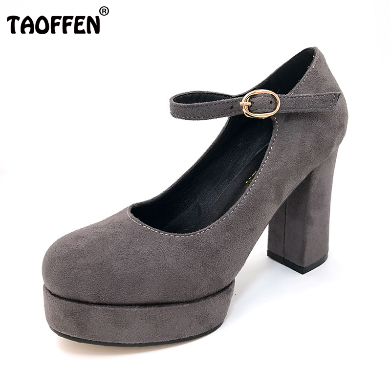 TAOFFEN Women Shoes Ankle Strap Square Super High Heel Ladies Party Vintage Sexy Round Toe Shoes