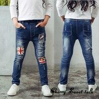 Подарки детям. весна и осень дети одежда повседневная джинсы брюки, мультфильм изображения девушки модные джинсы, девушка рваные джинсы. 2-14Y