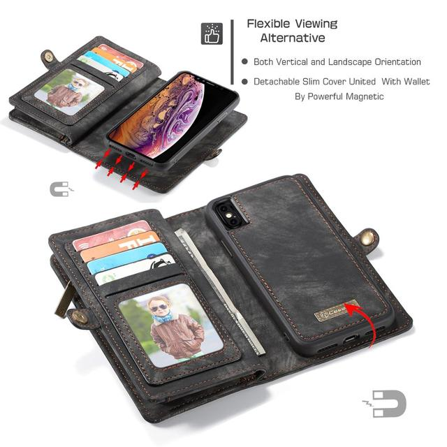 For iPhone X wallet case for iPhone 6 7 8 6S plus XS MAX XR 2 in 1 leather zipper removable magnetic card slot purse clutch case