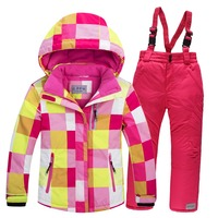 Free shipping boy+girl ski jacket+pants set winter snowboard clothes Thickening breathable kids snow suits waterproof ski coats
