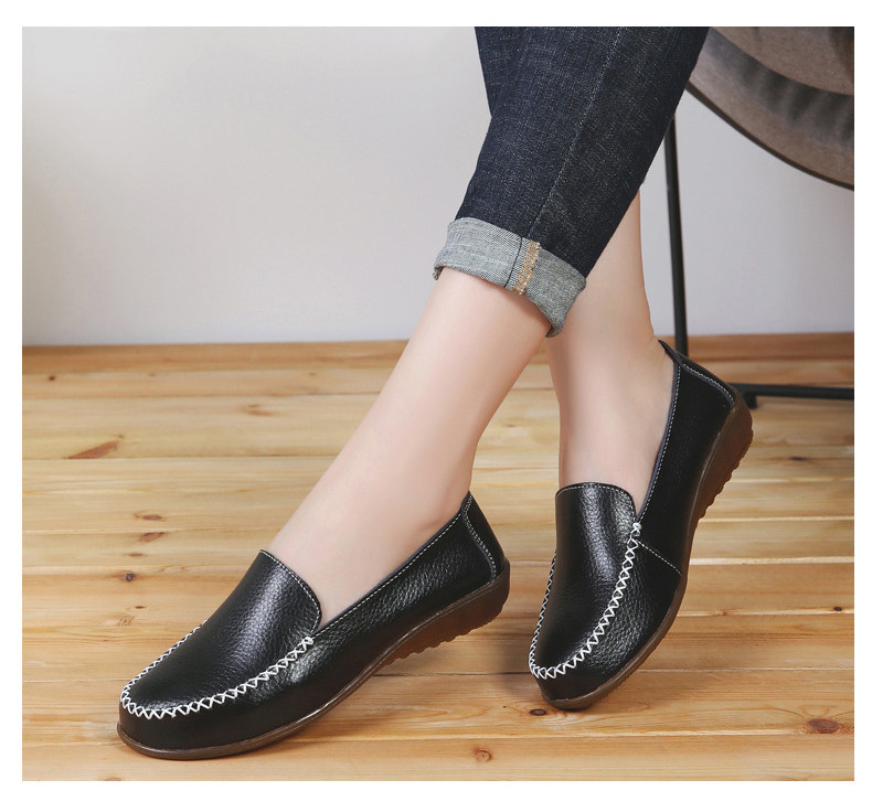 XY 518-2019 Genuine Leather Women's Shoes Soft Woman Loafers-8