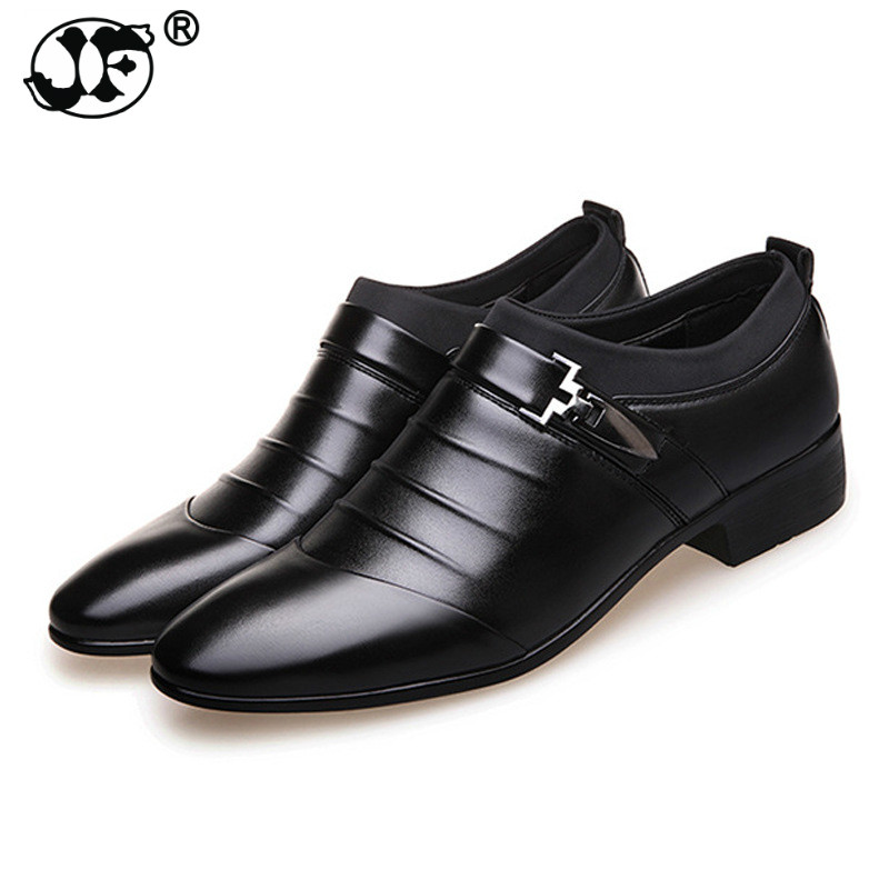 2019 Luxury Brand Pu Leather Office Fashion Men Business Loafers Pointy Black Formal Shoes Oxford Breathable Wedding Dress Shoes Formal Shoes