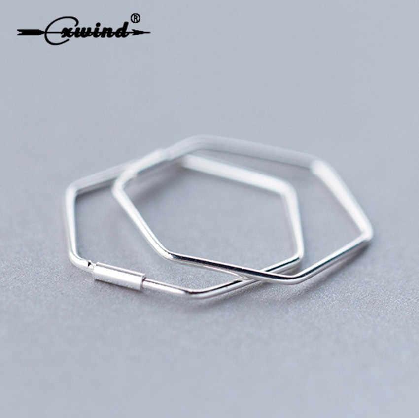 Cxwind Гладкие большие шестиугольные геометрические серьги-кольца для женщин серьги в форме Шестиугольника Brincos серьги ювелирные изделия для девочек подарок