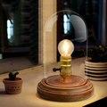 Урожай настольная лампа Европейский стиль стекло оттенок прикроватная лампа led настольная лампа древесины для спальни ретро лампы высокого класса abajur пункт qua
