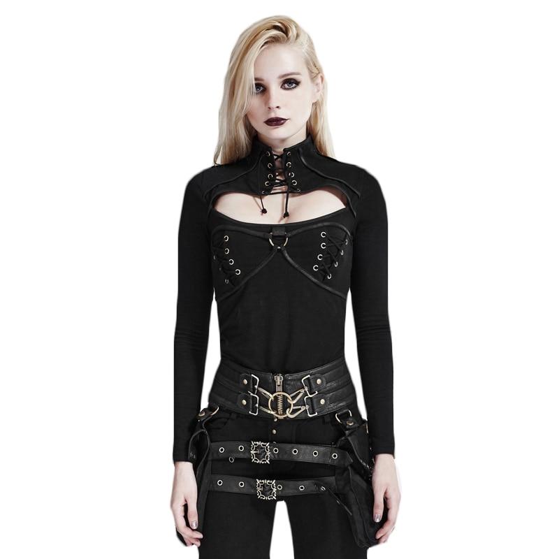 Nouveau 2017 noir Rock Punk mode col roulé femmes gothique T-shirt à manches longues coton Fitness hauts T-shirt avec bretelles T-437