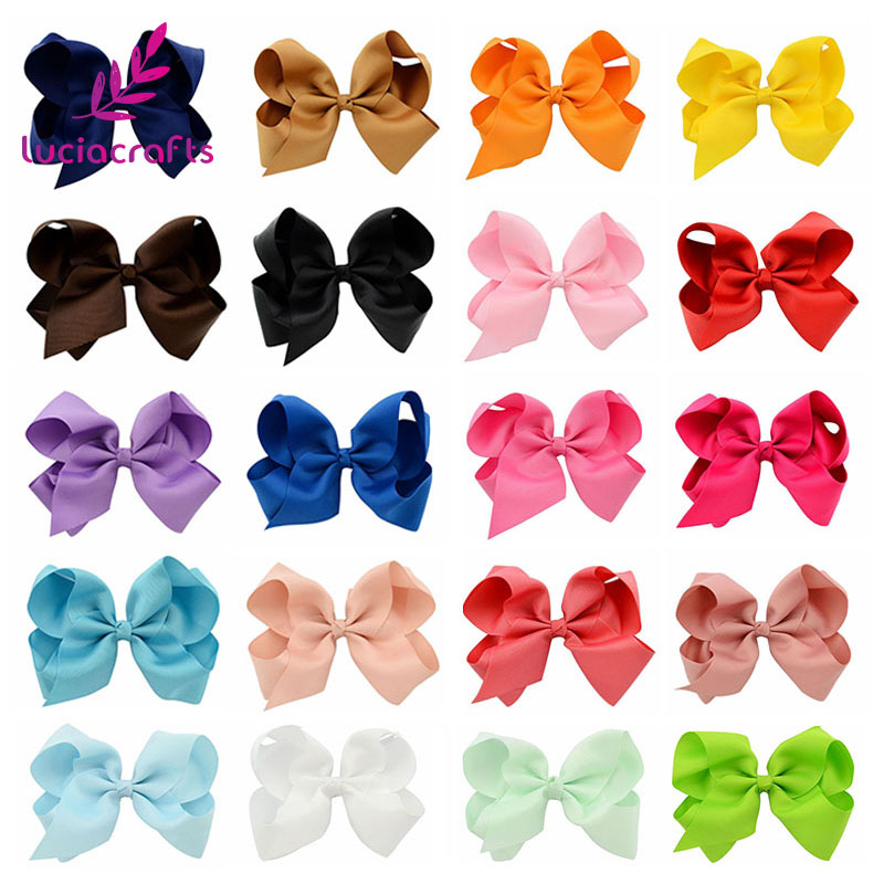 Lucia crafts 1piece 15x12cm Grosgrain Ribbon Boutique Solid Bows With Clip Hairpins Kids Hair Accessories 012004051(1)