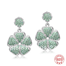 Free Shipping NEW Pure 925 Sterling Silver Earrings Silver Stylish Jewelry Micro Pave Drop Earrings GNE0941