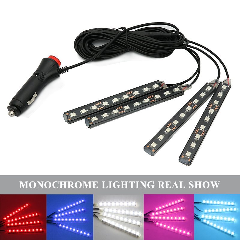 4x 9 LED Car Interior Atmosphere Light Floor Decorative Strip For BMW M E39 E46 E90 F10 F20 X5 E53 Hyundai Tucson Solaris Creta