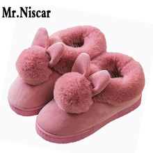 Women Indoor Home Cotton Slippers Shoes Autumn Winter Woman Slipper Animals Cartoon Rabbit Hairball Soft Plush Warm Slippers winter cartoon indoor warm plush santa slippers women men children s christmas style home slipper fit christmas gifts
