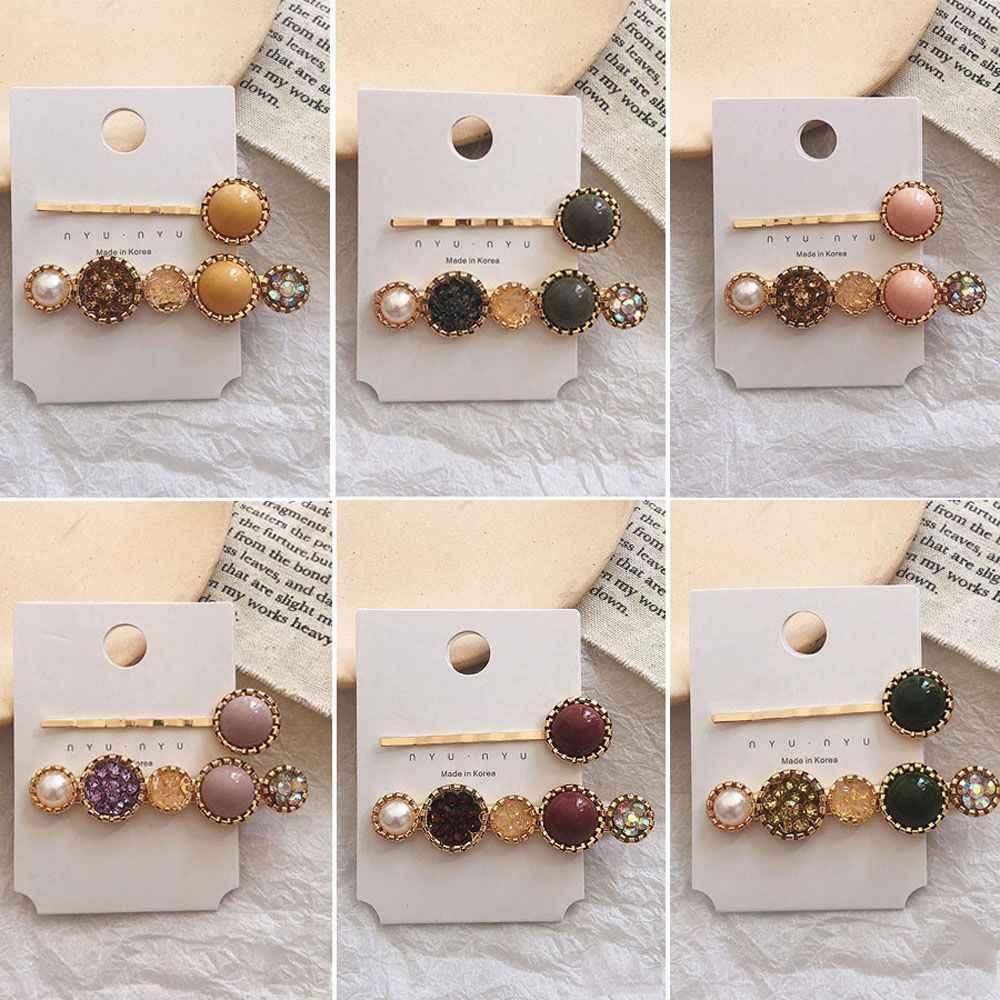 をファッション Korea フラワーラインストーン模造真珠のヘアピンヘアクリップファッションヘアアクセサリー