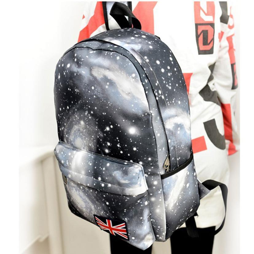 kai yunon 2016 New Korean Galaxy Pattern Unisex Travel Backpack Canvas Leisure Bags School Bag Aug