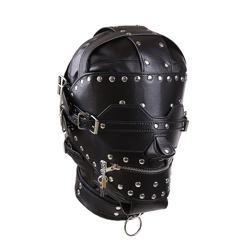 ФОТО Head Mask Enclosed With Zipper Sex Toys Game Face Mask,Leather BDSM Bondage Mask SM Totally Enclosed Hood with Blindfold HCH026