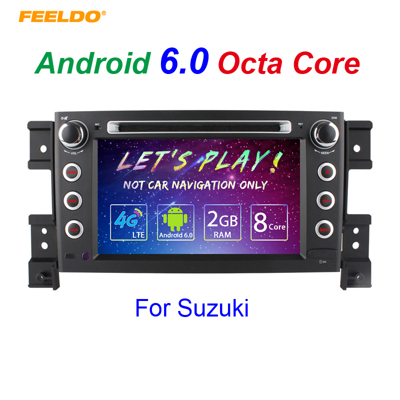 FEELDO 7 Android 6.0 (64bit) DDR3 2G/32G/4G LTE Octa Core Car DVD GPS Radio Head Unit For Suzuki Grand Vitara leewa 8 android 6 0 64bit ddr3 2g 32g 4g lte octa core car dvd gps radio head unit for great wall hover h3 h5 2010 2013