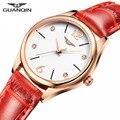 Moda guanqin marca de luxo mulheres relógio de cristal strass relógios de quartzo de couro ocasional das senhoras do relógio de pulso relogio feminino