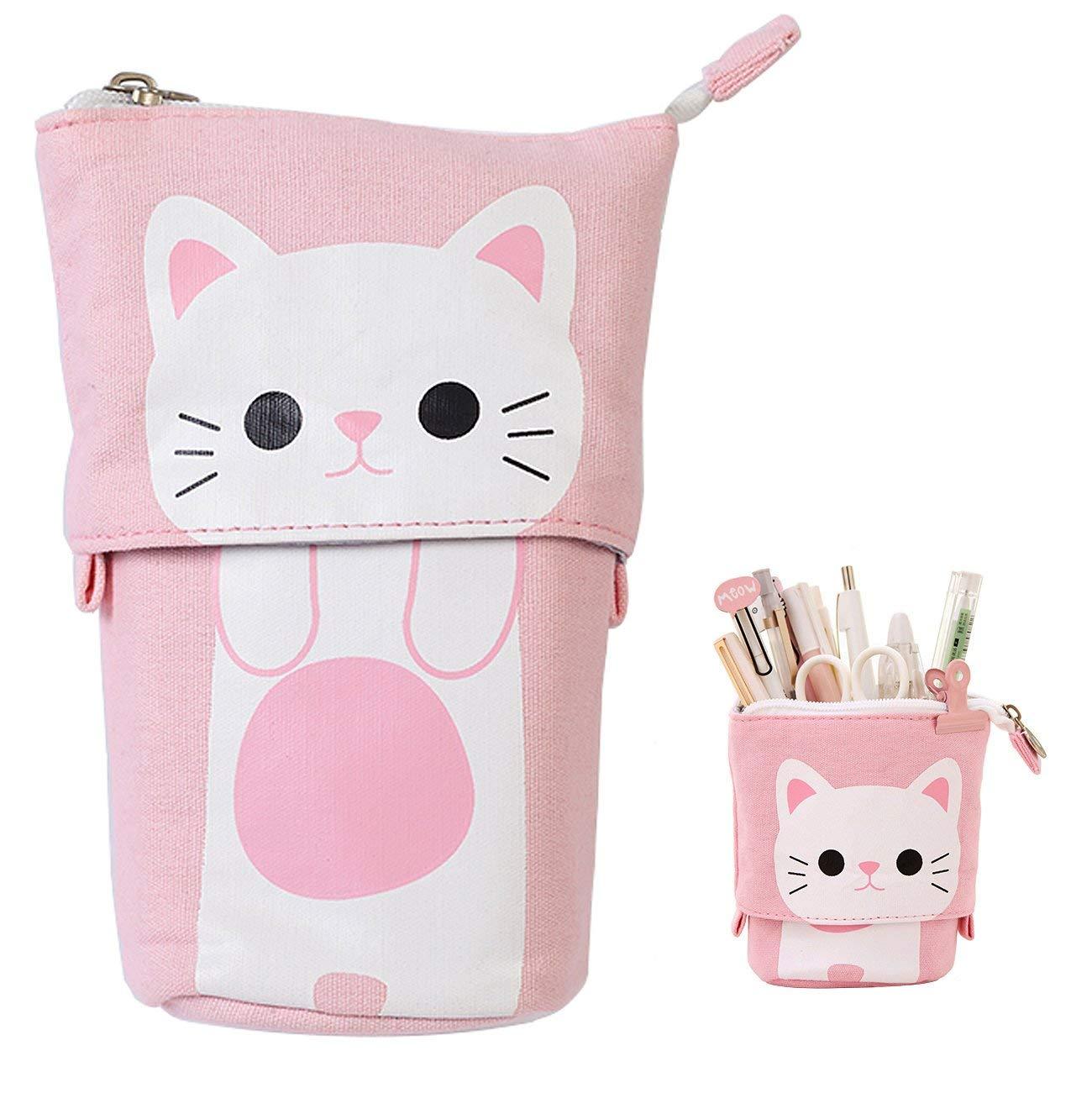 Kawaii Pencil Case Zipper Cute Cat Pencil Box Standing Stretch Pencilcase School Supplies Student Stationery Trousse Estuches