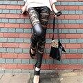 Diseño de moda de Encaje Legging Pantalones de Las Mujeres Sexy Gothic Punk Lace Faux Leather Stretch Pantalones Leggings Negro