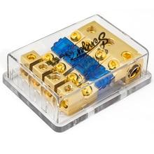 Чистая медь Авто транспортных средств аудио усилитель 1 в 4 пути выхода держатель предохранителя предохранителей 0GA (2GA/4GA) X3 в/4GA (6GA/8GAX4)