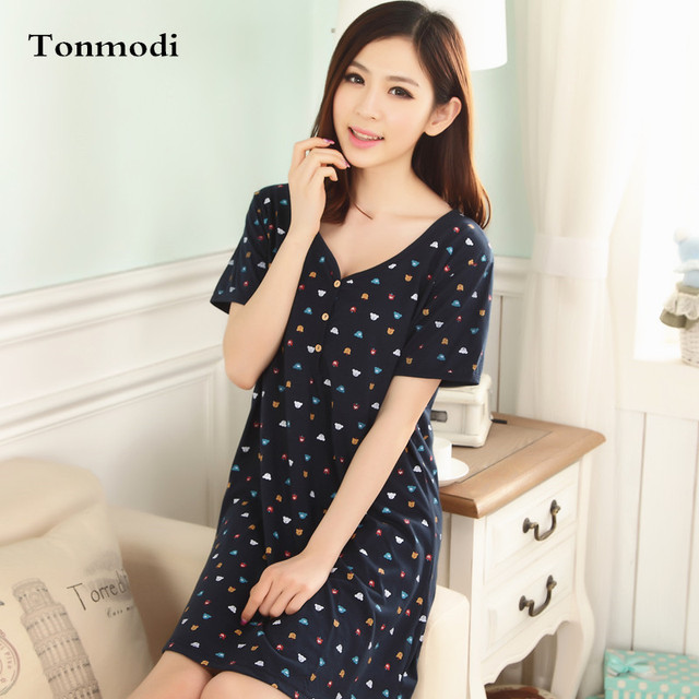 Nightgown Women Summer Sleepwear Short-Sleeve Cotton Sleepshirts V-neck Nightwear  Women s Lounge Nightgowns b99ff2de7