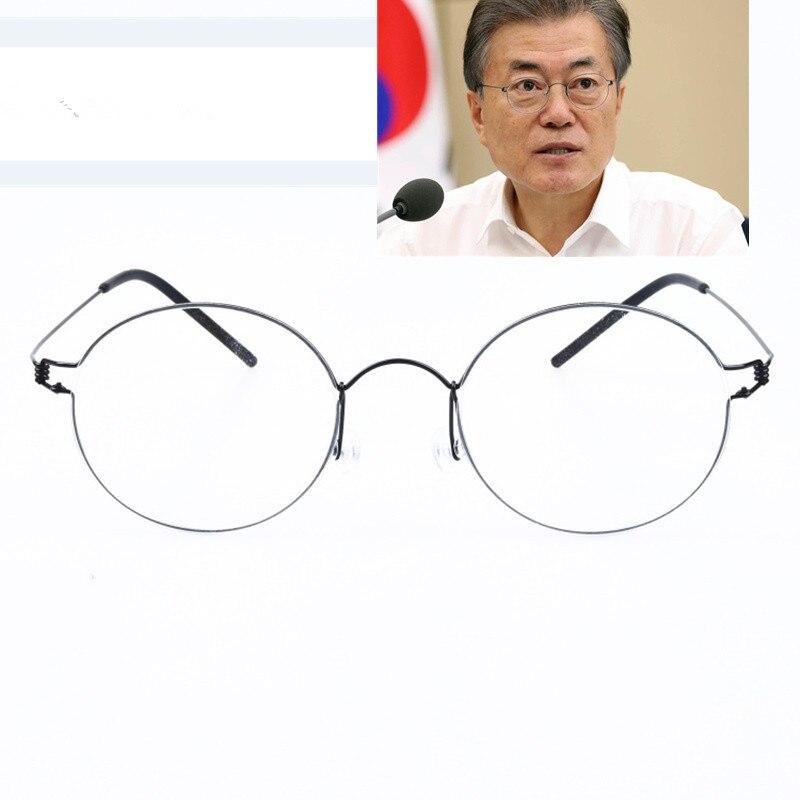 Main-made Titane Vintage Optique Prescription Lunettes Rondes Cadre Léger Coréenne Style Rétro Oculos de Grau pour Hommes Femmes