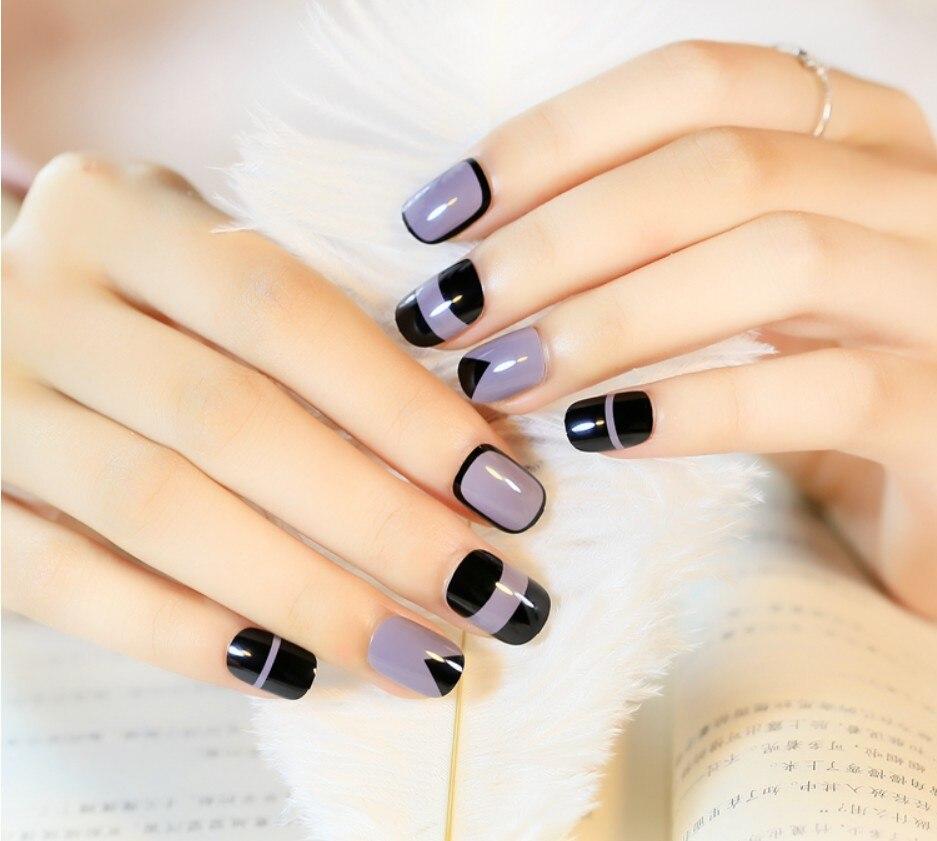 Fake Nails Tips 24Pcs/Set False Tips Nail Art Design Short Length ...