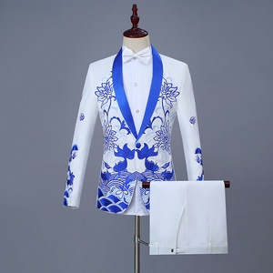 Image 1 - New Clothes 2019 Casual Coat Blazer Men Glitter Fit Dress White Red Blazers Suits Stage Wear Costumes For Singers Mens Banquet