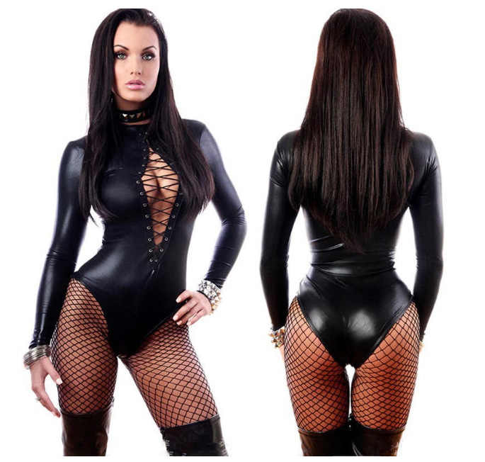 หนังผู้หญิงLeotard Bodysuit WetLook Lace Up Catsuit Clubwear Bodysuit