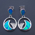 2016 New Fashion 100% 925 Sterling Silver Fine Long Drop Earrings for Party Women with Blue Fire Opal