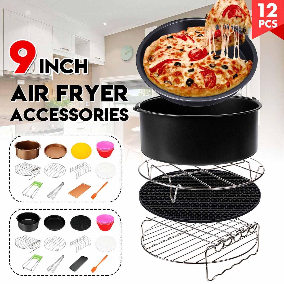 Accessoires de friteuse à Air 12 pièces 9 ''ensemble antiadhésif pour 5.3-6.8QT friteuse à Air Barbecue, cuisson, cuisine cuisinière outils de cuisson noir/or