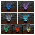 NEW 3D Vision Kitten Head Stag LED 7 Colors Change Tabby Cat Desk illusion Lamp Rocket Bedroom Home Party Deco Gift Night Light