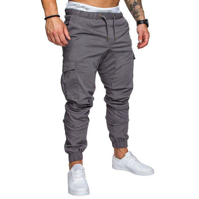 IceLion 2019 New Fashion Pants Men Solid Elasticity Men's Casual Trousers Mens Joggers Drawstring Multi-pocket Pants Sweatpants 5