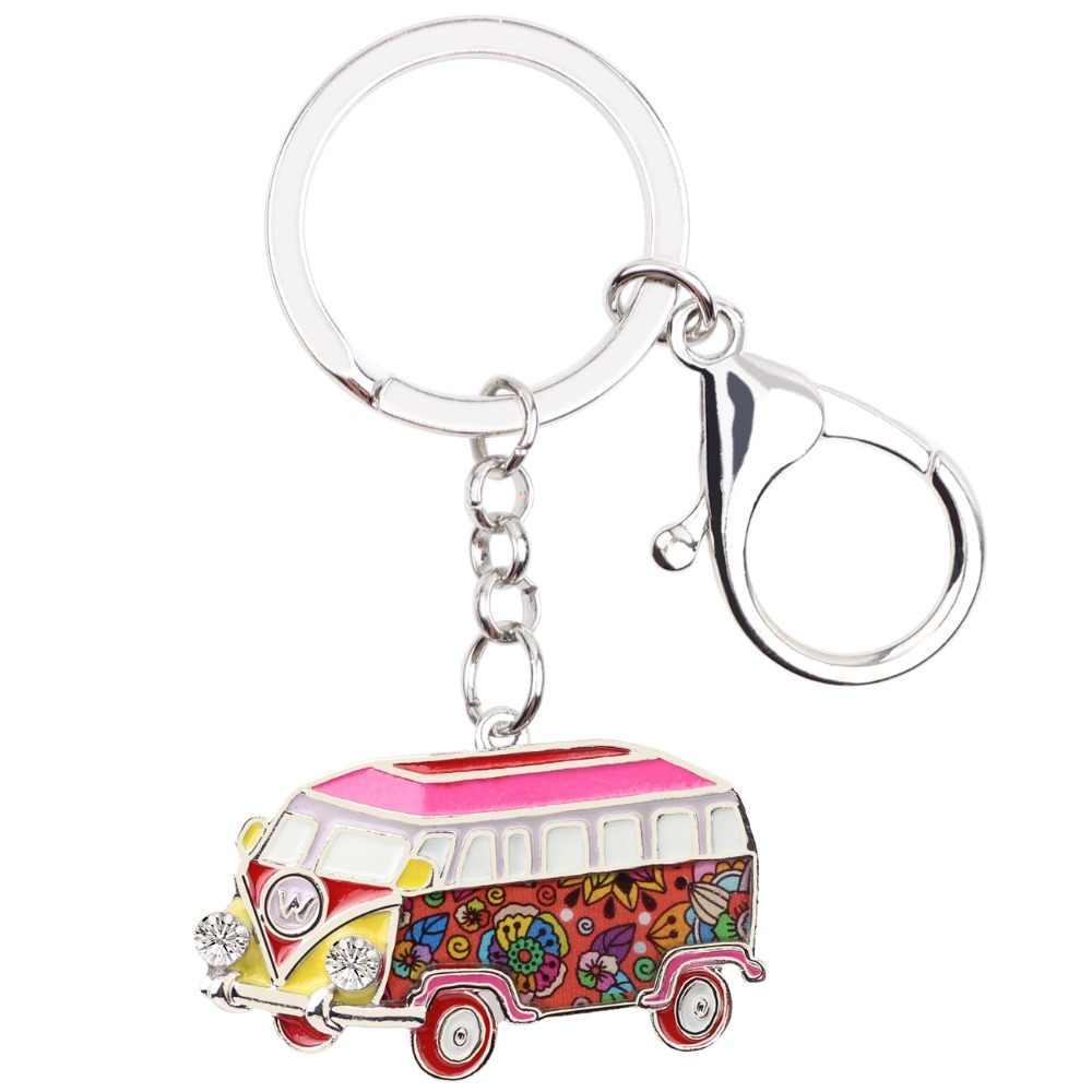 WEVENI металлический автобус автомобильный брелок сумка очаровательная модель автомобиля-фургона брелок-сувенир модные аксессуары эмалированные ювелирные изделия для женщин