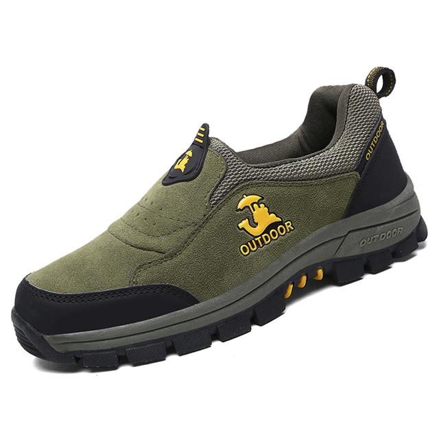 Gomnear Wasserdichte Herren Trekking & Wanderhalbschuhe Leder Outdoor Schuhe,Braun-47