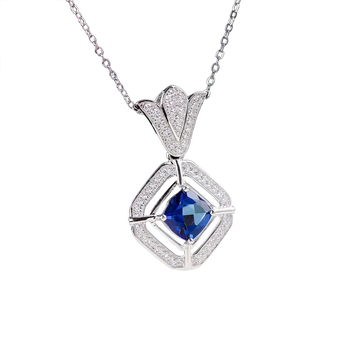 hot sale 2018 new design classic 925 sterling silver natural gemstone jewelry blue topaz silver charm pendant necklace jewellery