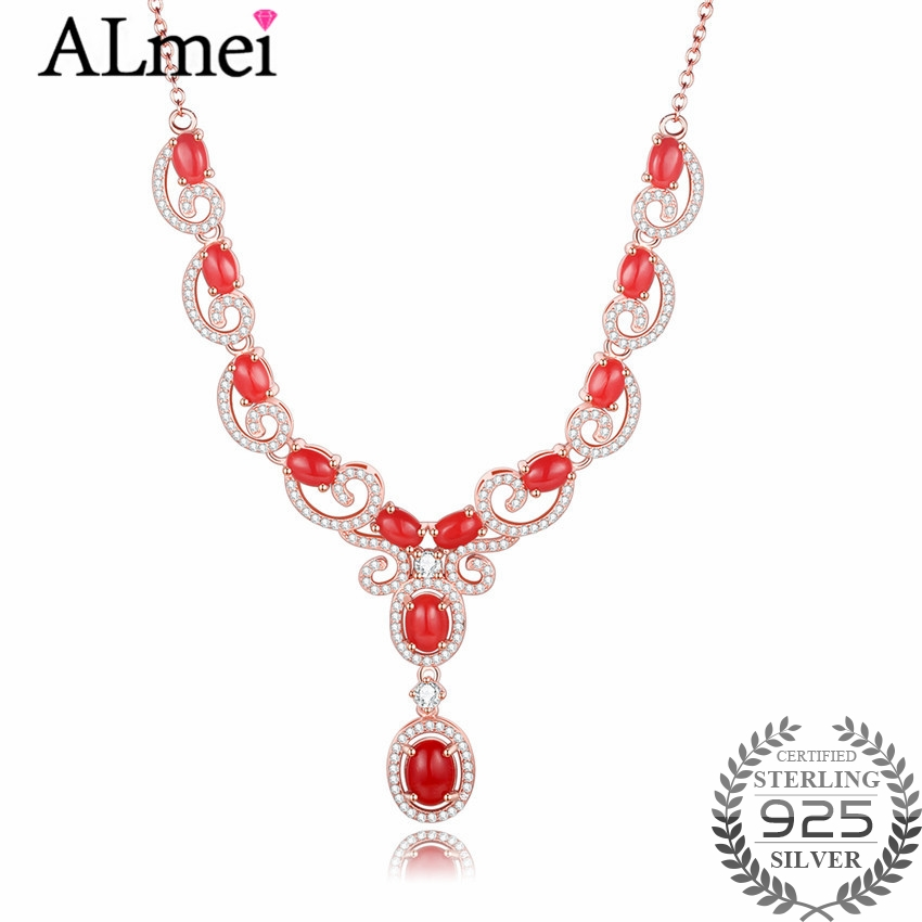 Almei 12pcs Red Beads 0.6ct Coral Lucky Clouds 925 Sterling Silver Rose Gold Color Jewelry Statement Necklace Free Box 40% FN094Almei 12pcs Red Beads 0.6ct Coral Lucky Clouds 925 Sterling Silver Rose Gold Color Jewelry Statement Necklace Free Box 40% FN094