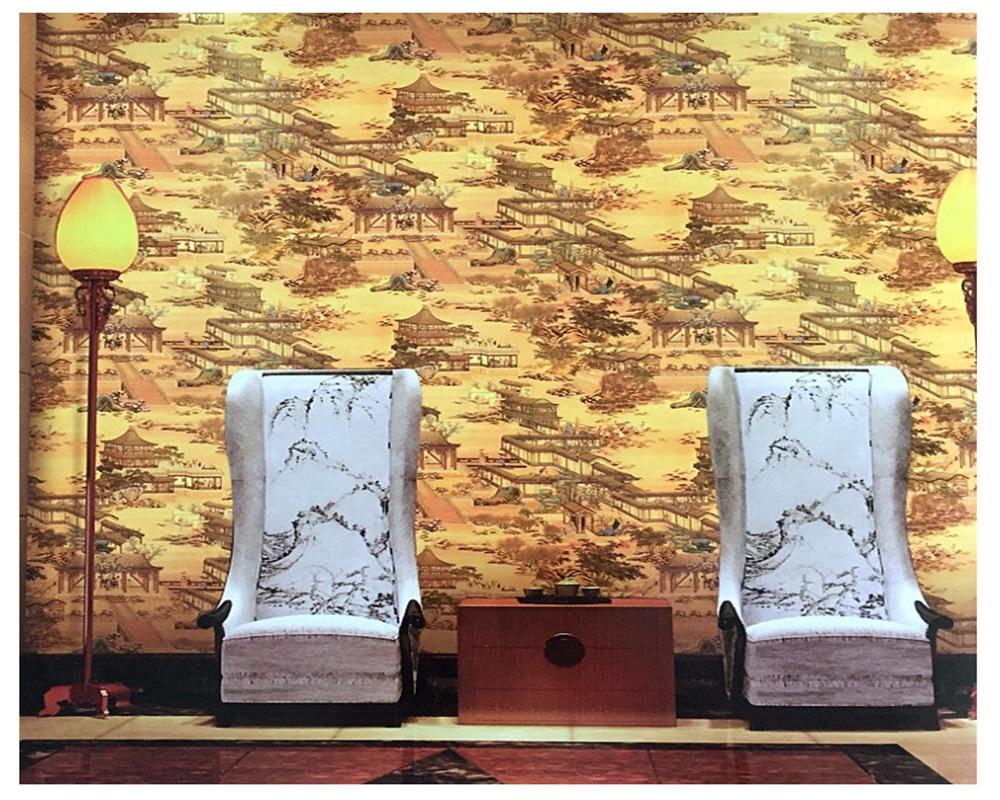Beibehang papier peint Classique porche paysage peinture feuille d'or or KTV hôtel classique Chinois papel de parede 3d papier peint