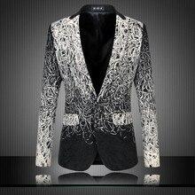 2017 New Arrival Men's Suit Jackets Single Button Casual Mens Blazer Brand Wire Hook Line Slim Fit Blazers Mens Clothing Black